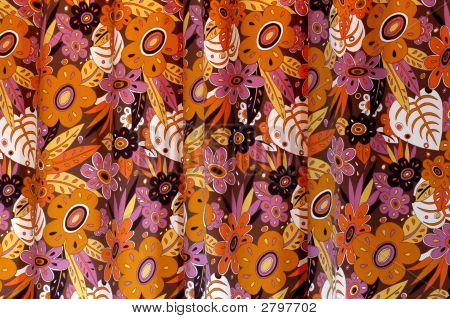 An old curtain with flowers design background poster