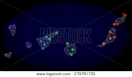 Mesh Vector Map Of Canary Islands With Glare Effect On A Dark Background. Light Spots Have Bright Ra