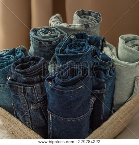 Jeans Background. Detail Of Nice Blue Jeans. Jeans Texture Or Denim Background. Blue Denim Texture.