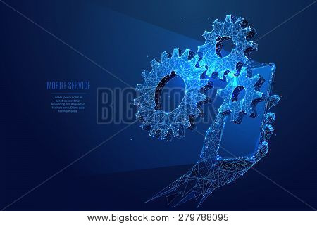 Gearing. Three Gears On Smartphone Screen In A Hand. Vector Low Poly Wireframe In The Form Of Starry