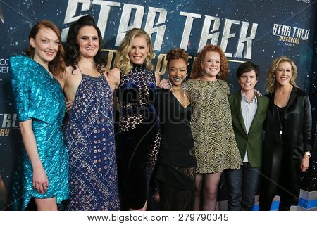 NEW YORK-JAN 17: (L-R) Emily Coutts, Mary Chieffo, Rebecca Romijn, Sonequa Martin-Green, Mary Wiseman, Tig Notaro and Heather Kadin attend