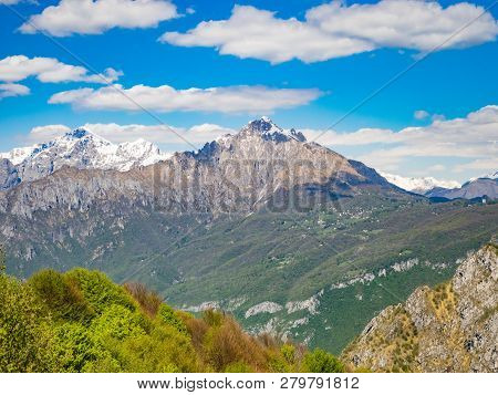 View Of Grigna Meridionale As Viewed From Hiking Trail To Corni Di Canzo, Lombardy, Italy