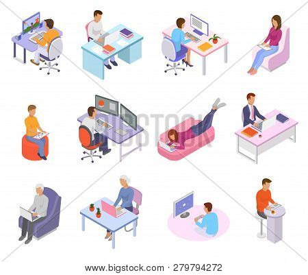 People Work Place Vector Business Worker Character Person Working On Laptop Computer At The Table In