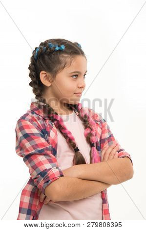 Teenage Fashion Concept. Fashionable Hairstyle. Casual Style Fashion. Girl Confidently Crossed Arms