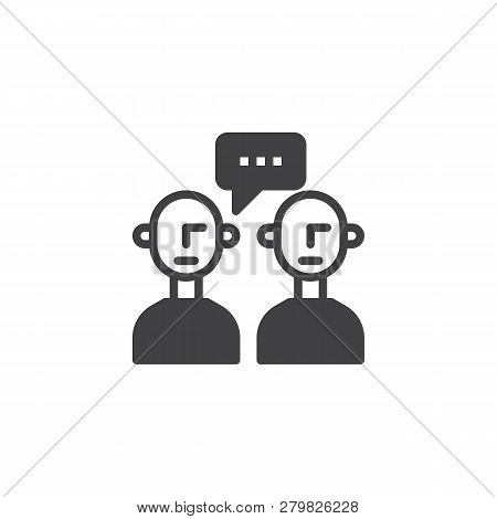 People Talk Vector Icon. Filled Flat Sign For Mobile Concept And Web Design. Two Person With Speech