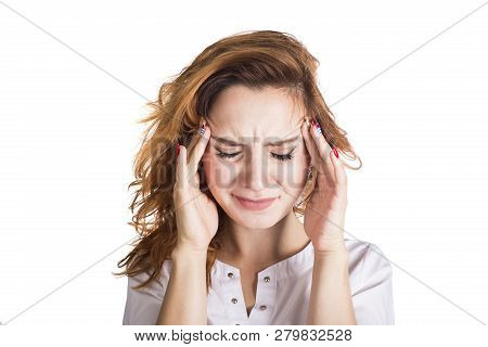 A Young Woman With A Headache Holding Head, Isolated On White Background. Headache Concept.