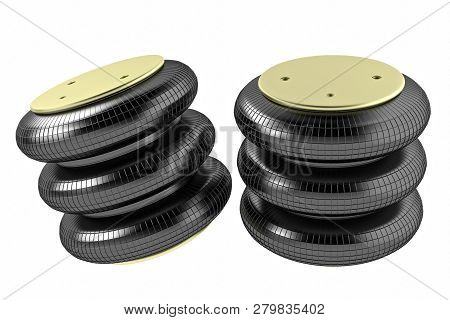3d Rendering. Trucks Air Spring, New Auto Parts, Spare Parts For Heavy Duty. Spare Parts For Shop, A