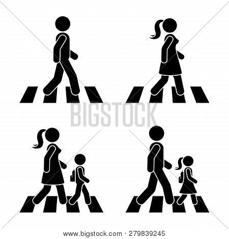 Stick Figure Walking Pedestrian Vector Icon Pictogram. Man, Woman And Children Crossing Road Set