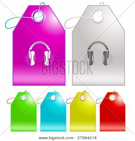 Headphones. Vector tags.