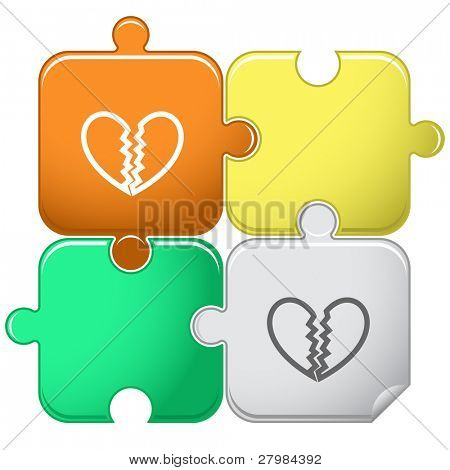 Unrequited love. Vector puzzle.