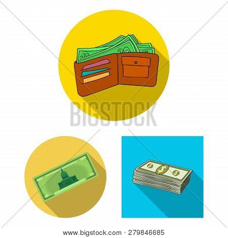 Vector Design Of Cash And Currency Sign. Set Of Cash And Stack Stock Symbol For Web.