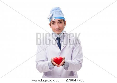 Young handsome doctor cardiologist isolated on white