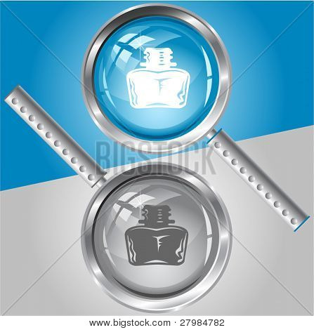 Inkstand. Vector magnifying glass.