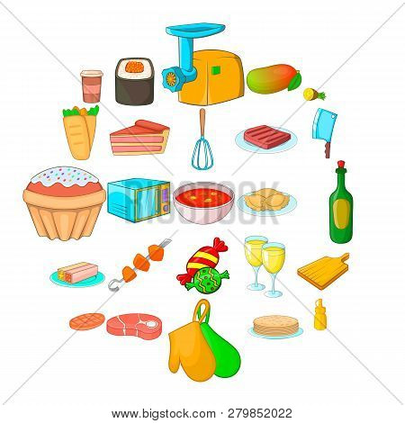 Supper Icons Set. Cartoon Set Of 25 Supper Vector Icons For Web Isolated On White Background