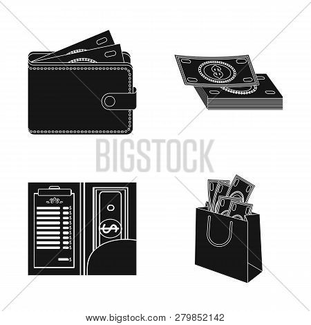 Isolated Object Of Cash And Currency Sign. Collection Of Cash And Stack Stock Vector Illustration.