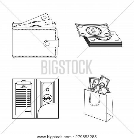 Vector Design Of Cash And Currency Icon. Set Of Cash And Stack Vector Icon For Stock.