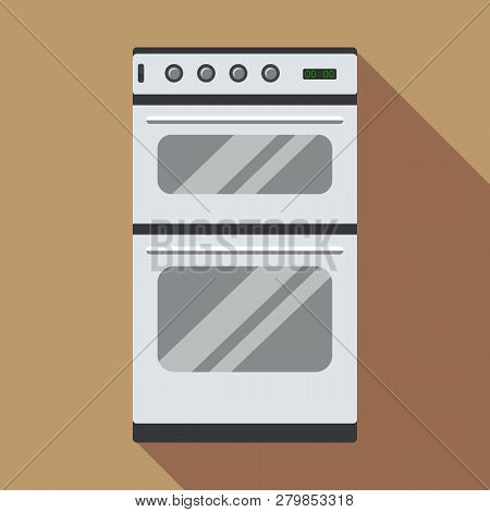Commercial Gas Oven Icon. Flat Illustration Of Commercial Gas Oven Vector Icon For Web Design