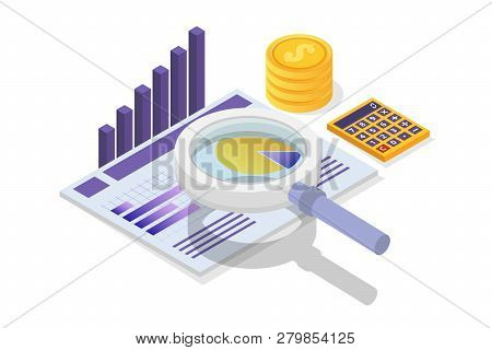 Financial Administration, Examiner, Audit Isometric Concept With Characters. Company Tax And Account
