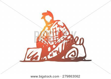 Beggar, poor, asking, sad, tramp concept. Hand drawn beggar asking for money and help on street concept sketch. Isolated vector illustration. poster