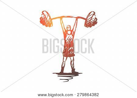 Old, Man, Barbell, Weight, Strong Concept. Hand Drawn Old Mature Man With Barbell Concept Sketch. Is