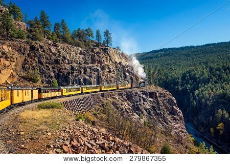 Silverton, Colorado, Usa - October 15, 2018 : Tourists Ride The Historic Steam Engine Train From Dur