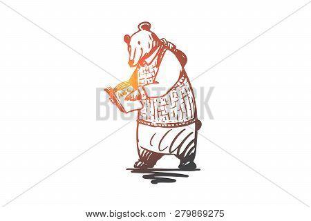 School, Animal, Bear, Read, Book Concept. Hand Drawn Animal Character Bear Read The Book Concept Ske