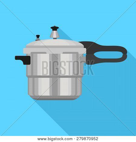 Metal Pressure Cooker Icon. Flat Illustration Of Metal Pressure Cooker Vector Icon For Web Design