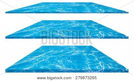 Blue Ripped Water In Swimming Pool With Sunny Reflections Isolated On White Background.  Water In Sw