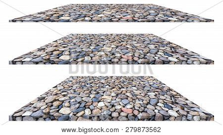 Stone Pebbles Texture Isolated On White Background. Stone Pebbles Texture Or Stone Pebbles Backgroun