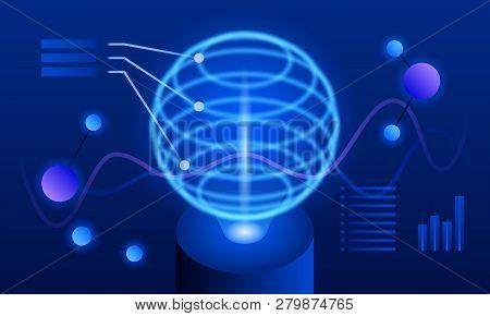 Global Futuristic Visualisation Banner. Isometric Illustration Of Global Futuristic Visualisation Ve