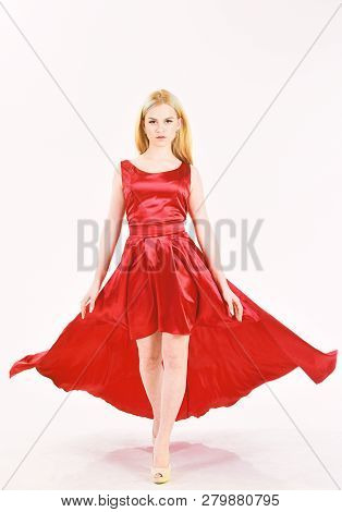 Dress Rent Service, Fashion Industry. Woman Wears Elegant Evening Red Dress, White Background. Girl