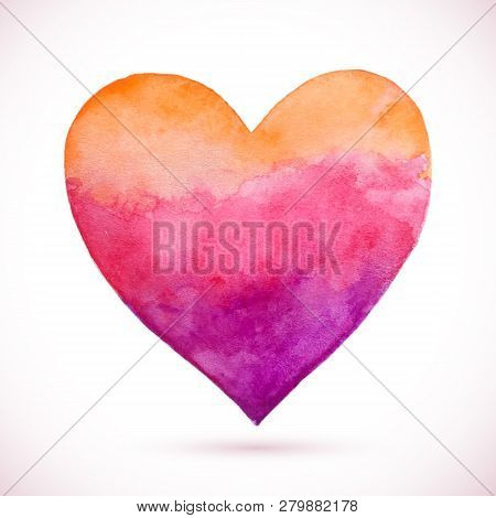 Vector Watercolor Heart. Painting Of The Heart. Valentines Day. Vector Greeting Card. Wedding Card.