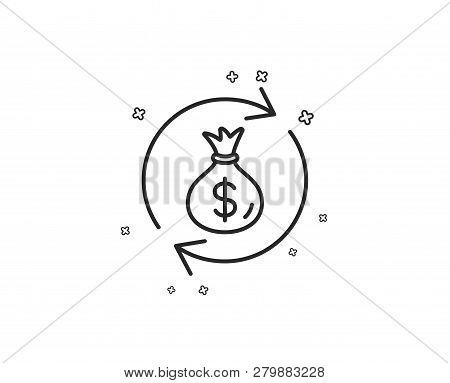 Cash Exchange Line Icon. Dollar Money Bag Symbol. Money Transfer Sign. Geometric Shapes. Random Cros