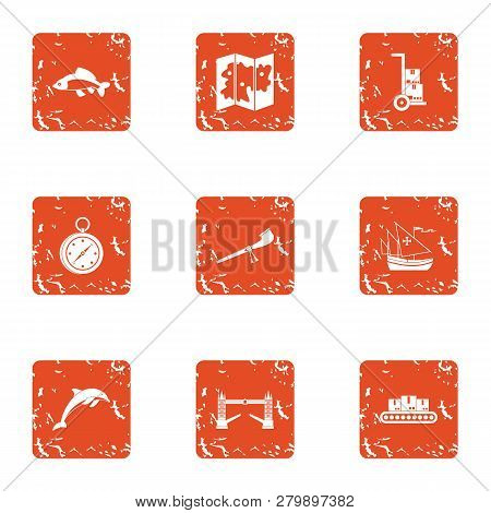 Difficult Terrain Icons Set. Grunge Set Of 9 Difficult Terrain Icons For Web Isolated On White Backg