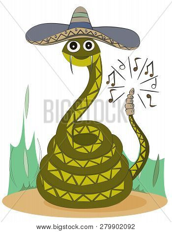 A Green Rattlesnake In A Sombrero Is Sitting On The Sand. Cute Cartoon Character.