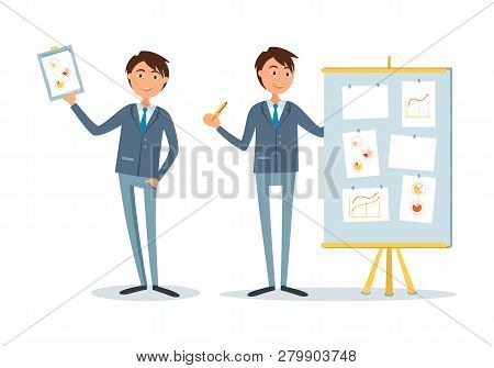 Businessman At Seminar, Presenter With Plan On Board Vector. Boss Holding Clipboard With Charts And