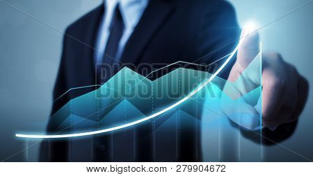 Business Development To Success And Growing Growth Concept, Businessman Pointing Arrow Graph Corpora
