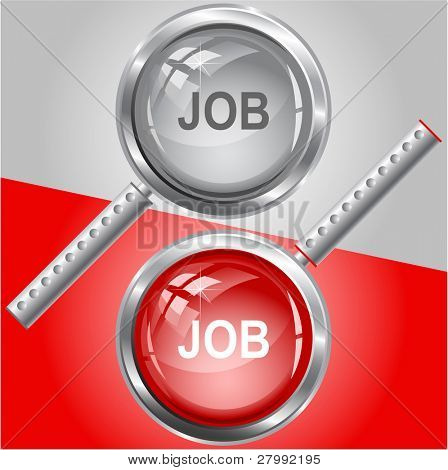 Job. Vector magnifying glass.