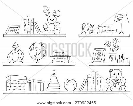 Shelves Set Graphic Black White Isolated Children Room Toy Book Sketch Illustration Vector