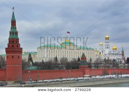 Moscow Kremlin And Government Building