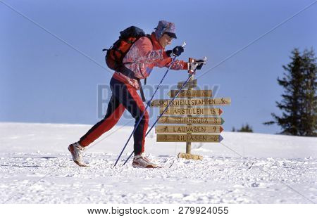 Gala, Norway- February 07,2017: Norway A Single Langlaufer Tracking Through The Snowfields, Near A S