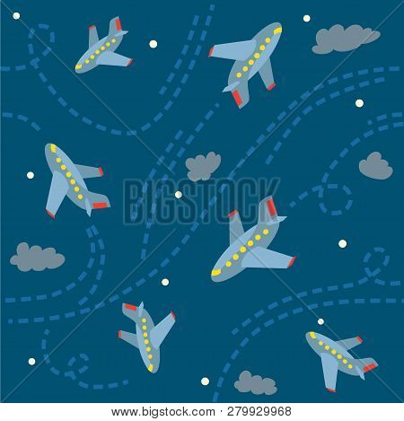 Seamless Pattern With Funny Planes In The Sky