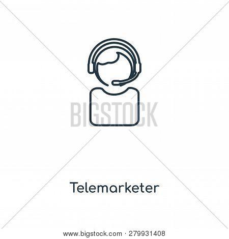 Telemarketer Icon In Trendy Design Style. Telemarketer Icon Isolated On White Background. Telemarket