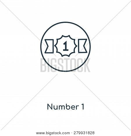 Number 1 Icon In Trendy Design Style. Number 1 Icon Isolated On White Background. Number 1 Vector Ic