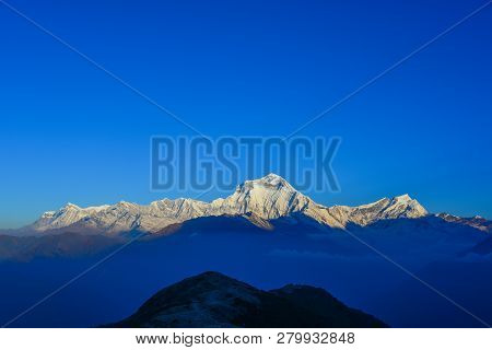 Peak Of Nepal Annapurna Range At Sunrise