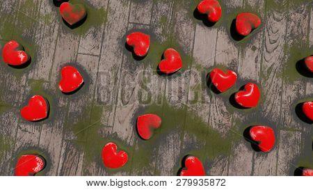 Red Hearts On The Floor, Bokeh, 3d Rendering