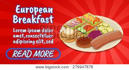 European Breakfast Concept Banner. Isometric Banner Of European Breakfast Comics Concept For Web, Gi