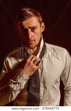 Caucasian Concept. Caucasian Man With Serious Face. Caucasian Man Wear Shirt With Tie. Handsome Cauc