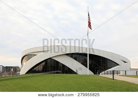 COLUMBUS,OHIO/UNITED STATES - NOVEMBER 25, 2018:  The Veteran's Memorial Museum in Columbus, Ohio was finished in October 2018.  This landmark is a prime tourist attraction in the downtown area.