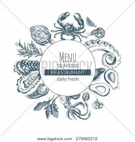Vector Illustration Sketch Card Menu Seafood Restaurant.